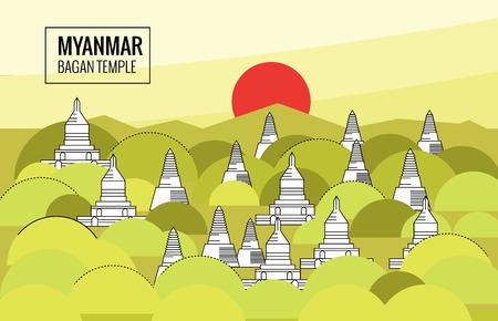 日の出バガンの寺院。ミャンマーの目的地のシーン。細い線のフラット デザイン。ベクトル図  イラスト・ベクター素材