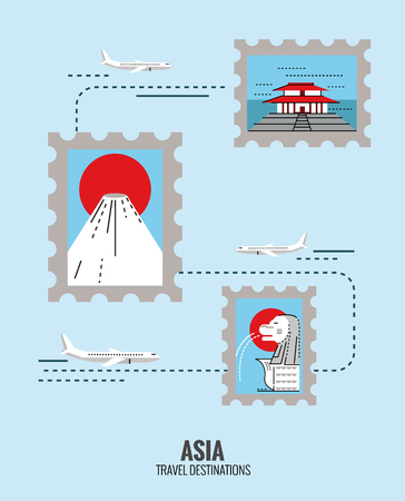 merlion: Postage stamps of Asia destination scene. japan, Singapore, china. travel concept.  thin line flat design. vector illustration
