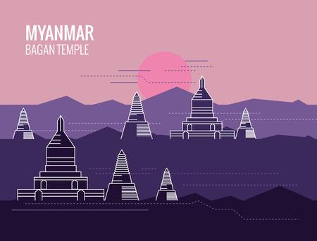 stupa: Bagan Temple at Sunrise. destination scene of Myanmar. thin line flat design. vector illustration Illustration
