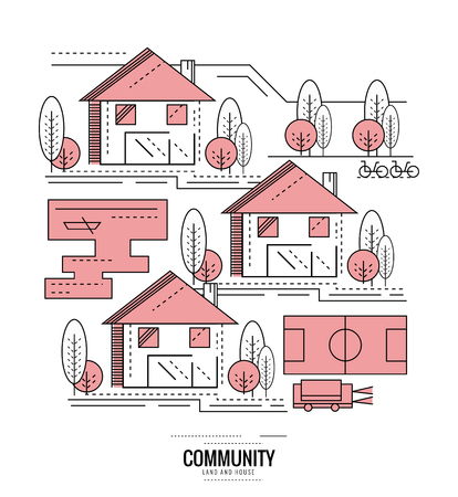football field: Residential Community. village road mapping. thin line flat design. vector illustration