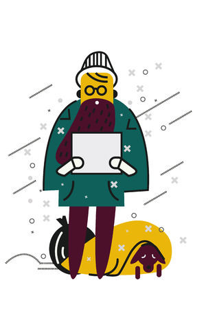 loitering: Unemployed men holding cardboard paper on the snow street with his dog. flat thin line character design. vector illustration