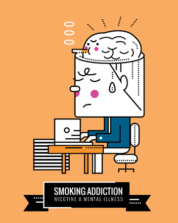 serious: Smoking Addiction. Nicotine a mental illness. Character thin line flat design. vector illustration