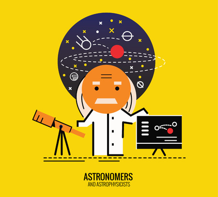 astronomer: Astronomer with refractor telescope. Character thin line flat design. vector illustration