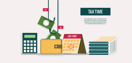 Tax time concept. website banner, template, poster, icons. flat thin line design elements. vector illustration