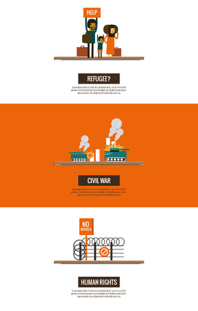 indian family: Refugees of the Syrian Civil War infographics. website banner, poster, template. thin line flat design. vector illustration Illustration