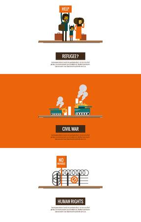 Vluchtelingen van de Syrische burgeroorlog infographics. website banner, poster, sjabloon. dunne lijn plat design. vector illustratie
