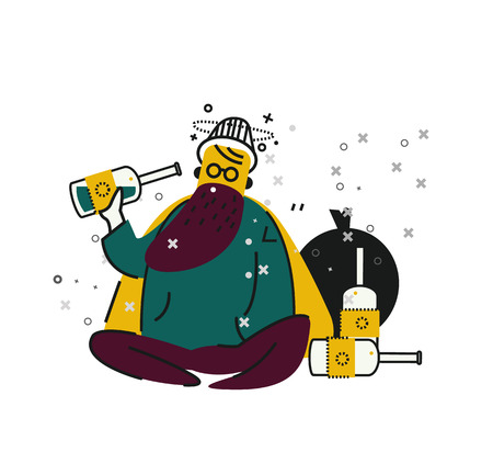 lonely person: Drunk Homeless drinking alcohol on street. unemployment and homeless issues. flat thin line character. vector illustration Illustration