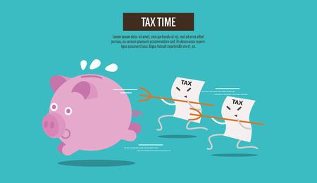 Piggy bank weglopen van belastingaanslagen te vangen. stripfiguur. Belastingdruk abstract concept. dunne lijn plat design. vector illustratie