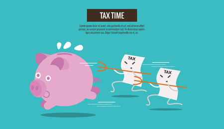 Piggy bank run away from Tax bills catching. cartoon character. Tax burden abstract concept. thin line flat design. vector illustration