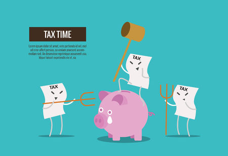 Tax bill hold hammer about to smash piggy bank. cartoon character. Tax burden abstract concept. thin line flat design. vector illustration Illustration