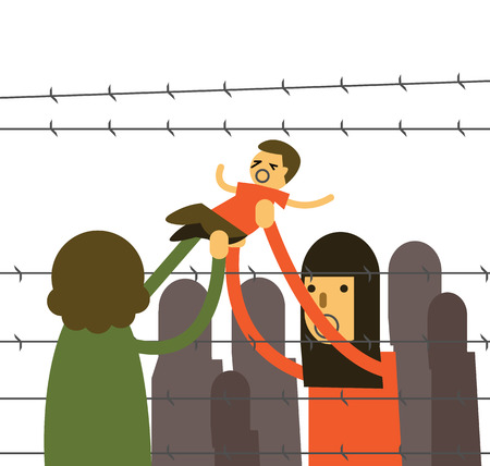 iraq conflict: Mother holding her kids cross Barbed Wire at refugee camp. thin line flat design elements. vector illustration Illustration