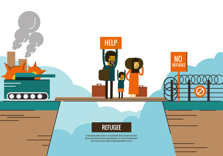 war refugee: Refugee people on the bride between civil war and border Closed. war victims concept. thin line flat design. vector illustration
