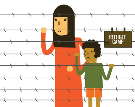 illegal immigrant: Woman and child holding Barbed Wire at refugee camp. thin line flat design elements. vector illustration