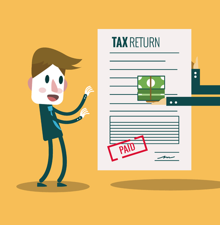 Businessman get paid bill and money return.Tax return concept. flat design elements. vector illustration