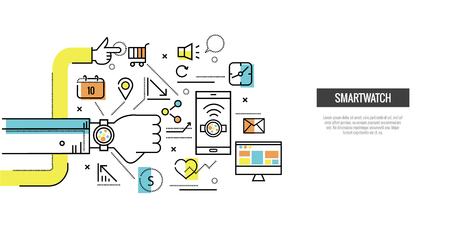 chronograph: Smart watch connect with smartphone and computer. website banner, template, poster, icons. flat thin line design elements. vector illustration
