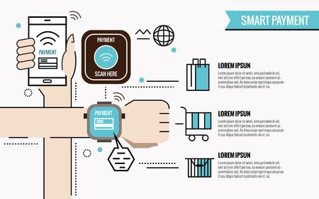 Smart Payment Infografik. Smartphone und Uhren mit Verarbeitung von geschützten mobilen Zahlungen von Kreditkarten-NFC-Technologie. flache, dünne Linie Design-Elemente. Vektor-Illustration