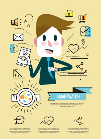 chronograph: Businessman enjoy with his smartwatch.Smart watch infographic, icons. flat thin line design elements. vector illustration