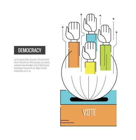 encuestando: concepto de la democracia. Manos de la votación. banner de página web, plantilla, cartel, iconos. delgados elementos de diseño de línea plana. ilustración vectorial