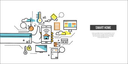 Smart home concept. Controle huis door smartphone. website banner, sjabloon, poster, pictogrammen. platte dunne lijn design elementen. vector illustratie Vector Illustratie