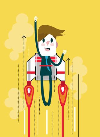 salaryman: Flying businessman with jetpack. Start up and Leadership concept.  flat thin line design elements. vector illustration