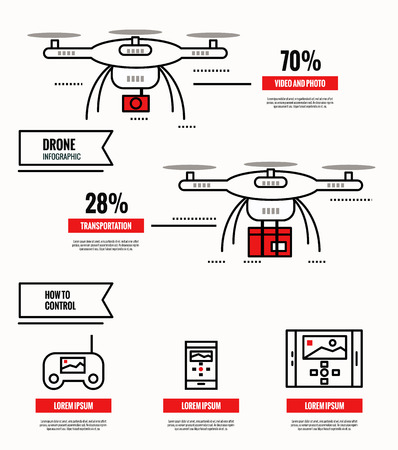 city surveillance: Drone infographic. media, shipping, surveillance, control. template, poster, icons. flat thin line design elements. vector illustration Illustration