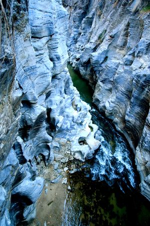 tourist feature: Scenic river canyon, rocks and water. Nature background. Op Khan National Park. chiang mai thailand