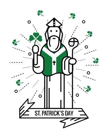 saint: Saint Patrick with  lucky clover.  Saint Patricks day. flat thin line character design and elements. illustration