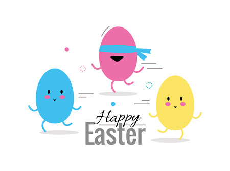 finding: Finding easter eggs. flat design elements and character. abstract illustration