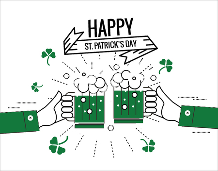 Happy  Saint Patricks day. Green beer toasting, lucky clover, ornaments and typography font type.  flat thin line design elements. illustration