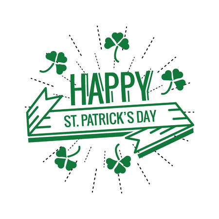 four leafed: Saint Patricks Day Typographical.  flat thin line design elements. illustration Illustration