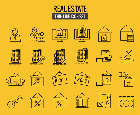 valuation: Real estate icons. flat thin line icons design. illustration