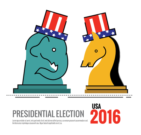 nomination: Election 2016 USA concept. the elephant and donkey Chess board game. flat thin line design elements. illustration