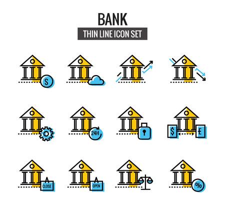 clound: Bank Icon set. flat thin line design. Illustration