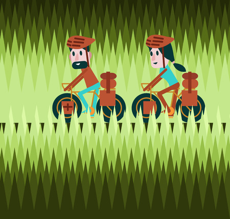 Man and woman cycling on greenfield road. Bike tour concept. flat design elements. vector illustration Illustration