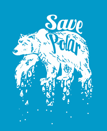 polar climate: Save Polar bears. vector illustration