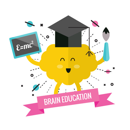 right on: Left & right brain. cartoon and character design. Education concept. flat design elements. Vector illustration