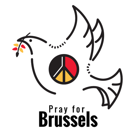 killed: Pray for Brussels. Dove and peace symbol on Belgium flag color. flat thin line Vector illustration Illustration