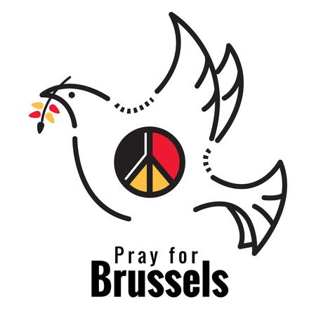simbolo della pace: Pregate per Bruxelles. Colomba e simbolo della pace sul Belgio colore bandiera. piatta linea sottile illustrazione vettoriale