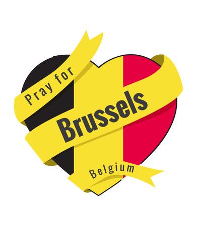Pray for Brussels. Heart of Belgium flag color. flat thin line Vector illustration Illustration