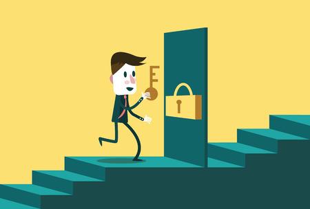 Hombre de negocios con la tecla de abrir la puerta al siguiente paso. concepto de negocio. diseño de personajes plana. ilustración vectorial
