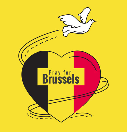pray for: Pray for Brussels. Dove and Heart of Belgium flag color. flat thin line Vector illustration