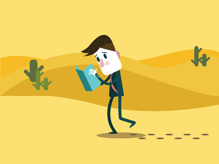alone man: A business man watching a map. alone on a desert. business trouble concept. flat character design. Illustration