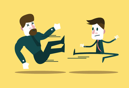 business metaphor: Two business people fighting. Small businessman win big guy. business metaphor.  flat character design. Illustration