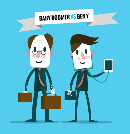 baby boomers  VS generation y. Business human resource. flat character design. vector illustration  イラスト・ベクター素材
