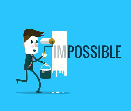 vecter: Businessman turning the word Impossible into Possible. flat design elements. vector illustration