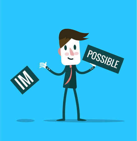 overcoming: Businessman tearing up a sign saying - Impossible - conceptual of successfully overcoming problems and challenges and positive attitude.  flat design elements. vector illustration Illustration