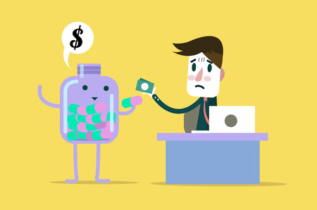 fee: Business pay money with pill bottle (medical fee). flat cartoon design. vector illustration