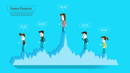 coworker banner: business people on graph with score. estimate human resources concept. flat banner, book  ,annual report, magazine design.