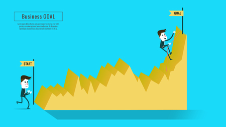 two point: Two businessmen on the graph, one on start point, one climbing to the top, stairway to progress, flat infographic elements, banner, book  annual report, magazine design.