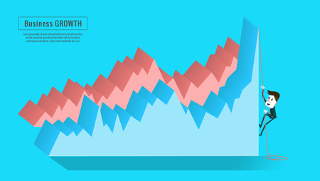 crack climb: Businessman climbing high graph. flat infographic, banner, book  ,annual report, magazine  design. vector illustration Illustration
